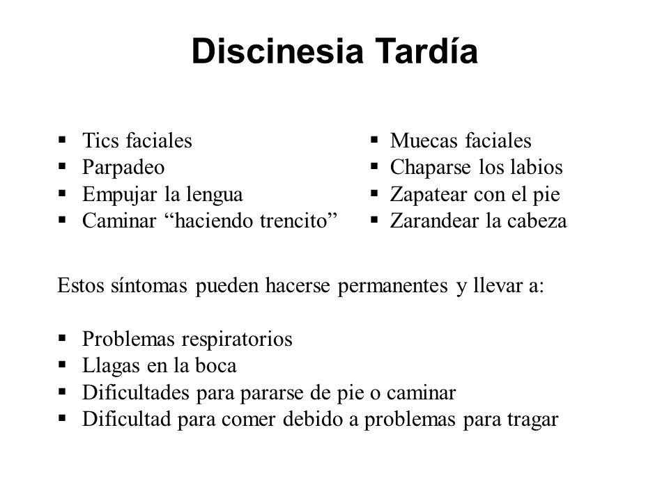 Discinesia Tardía Tics faciales Parpadeo Empujar la lengua