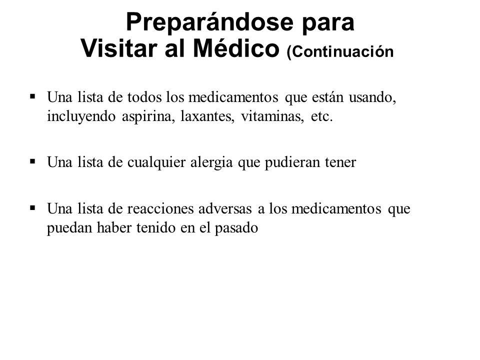 Preparándose para Visitar al Médico (Continuación)