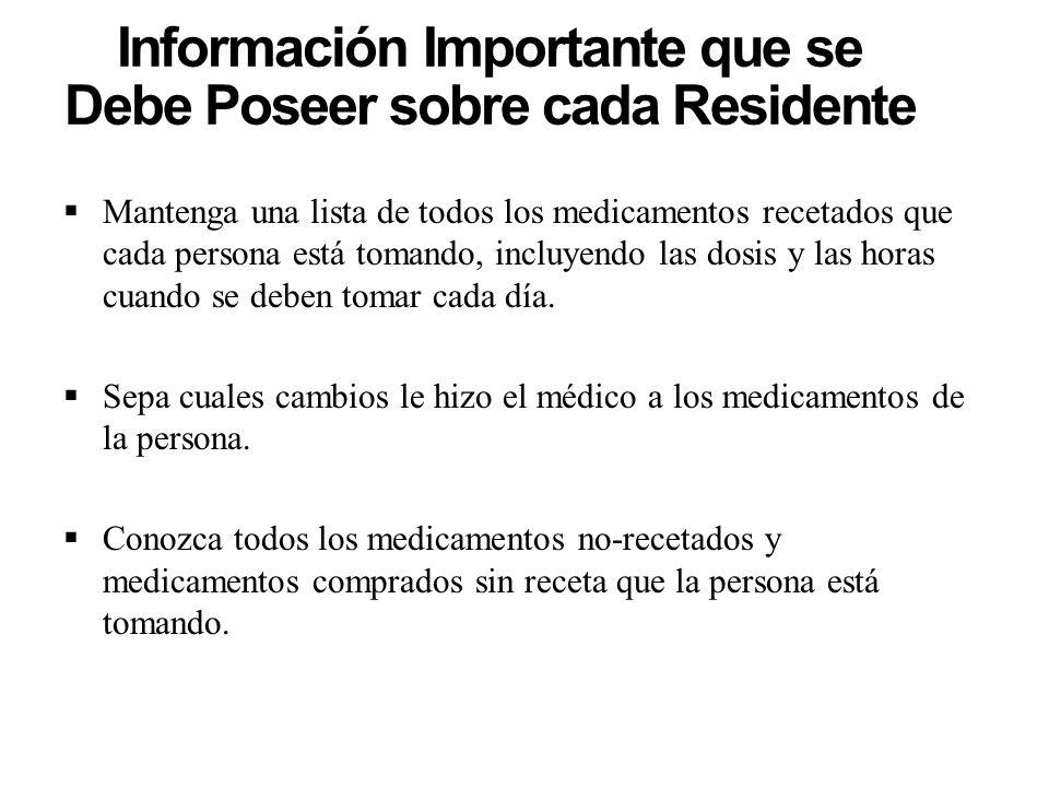 Información Importante que se Debe Poseer sobre cada Residente