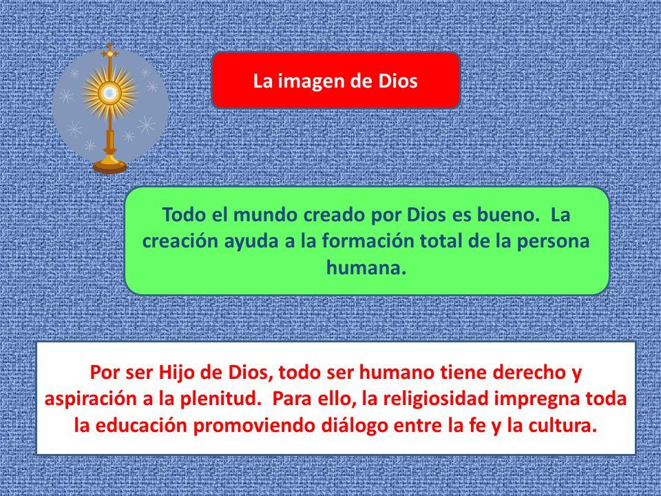 La imagen de Dios Todo el mundo creado por Dios es bueno. La creación ayuda a la formación total de la persona humana.