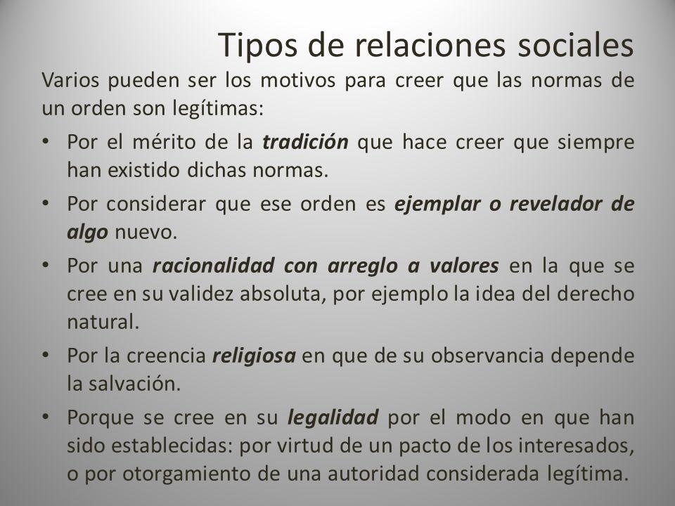 Tipos de relaciones sociales