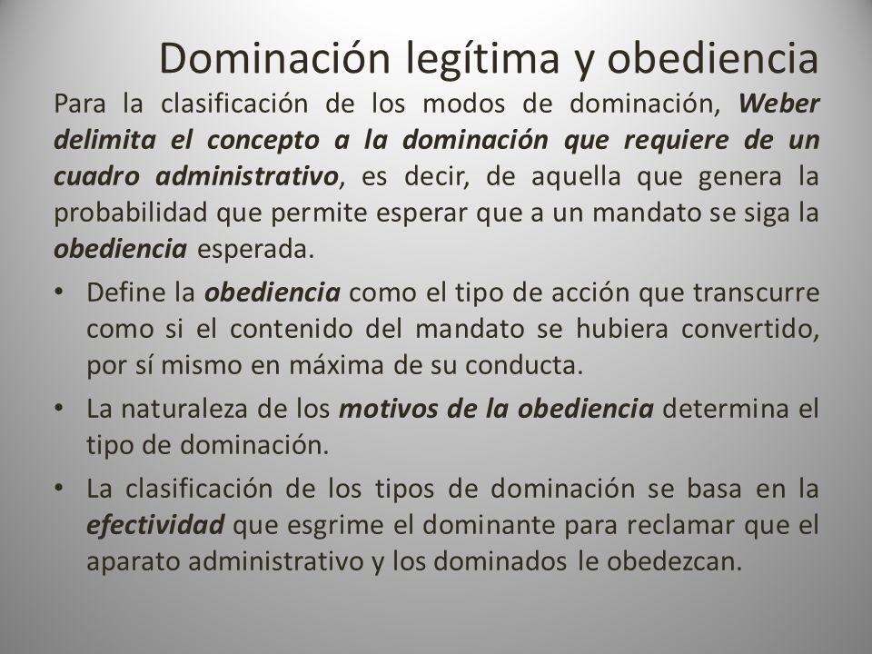 Dominación legítima y obediencia