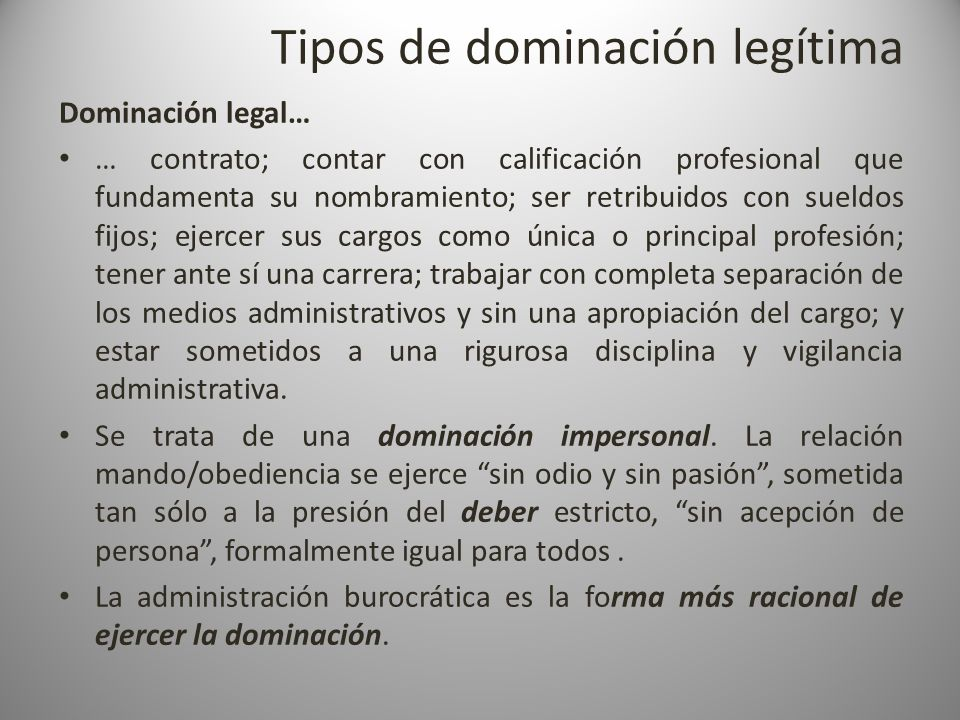 Tipos de dominación legítima