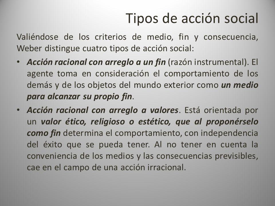 Tipos de acción social Valiéndose de los criterios de medio, fin y consecuencia, Weber distingue cuatro tipos de acción social: