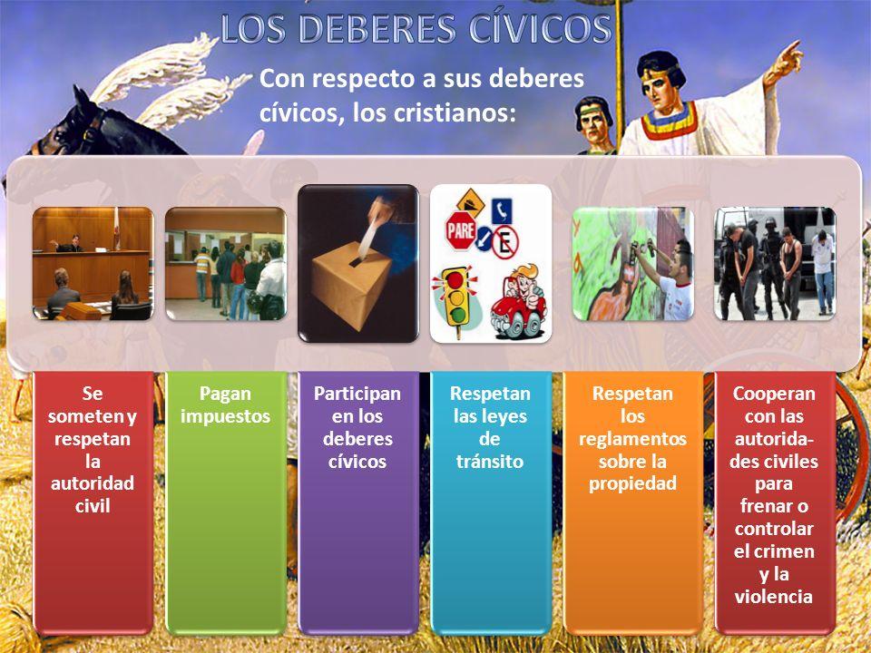 LOS DEBERES CÍVICOS Con respecto a sus deberes cívicos, los cristianos: Se someten y respetan la autoridad civil.