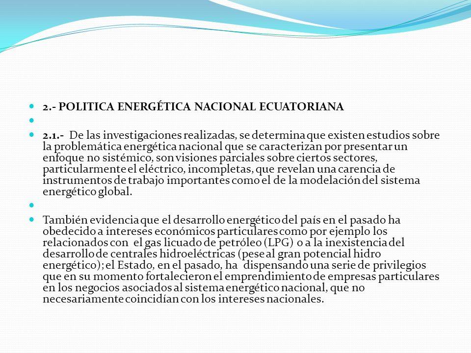 2.- POLITICA ENERGÉTICA NACIONAL ECUATORIANA