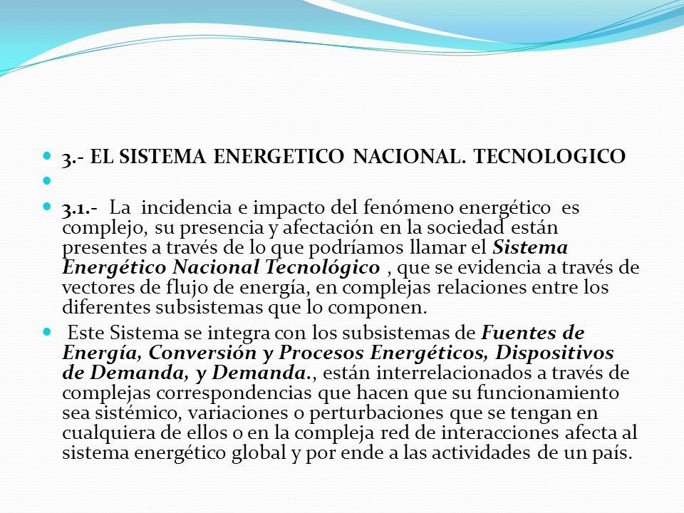3.- EL SISTEMA ENERGETICO NACIONAL. TECNOLOGICO