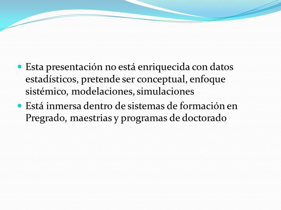 Esta presentación no está enriquecida con datos estadísticos, pretende ser conceptual, enfoque sistémico, modelaciones, simulaciones