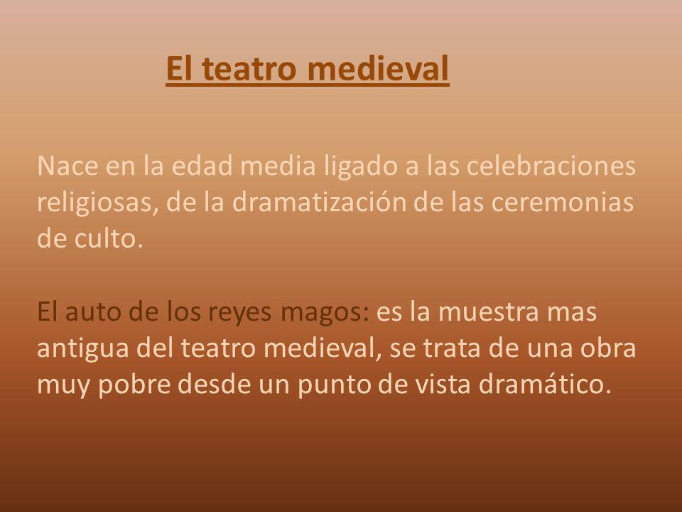 El teatro medieval Nace en la edad media ligado a las celebraciones religiosas, de la dramatización de las ceremonias de culto.