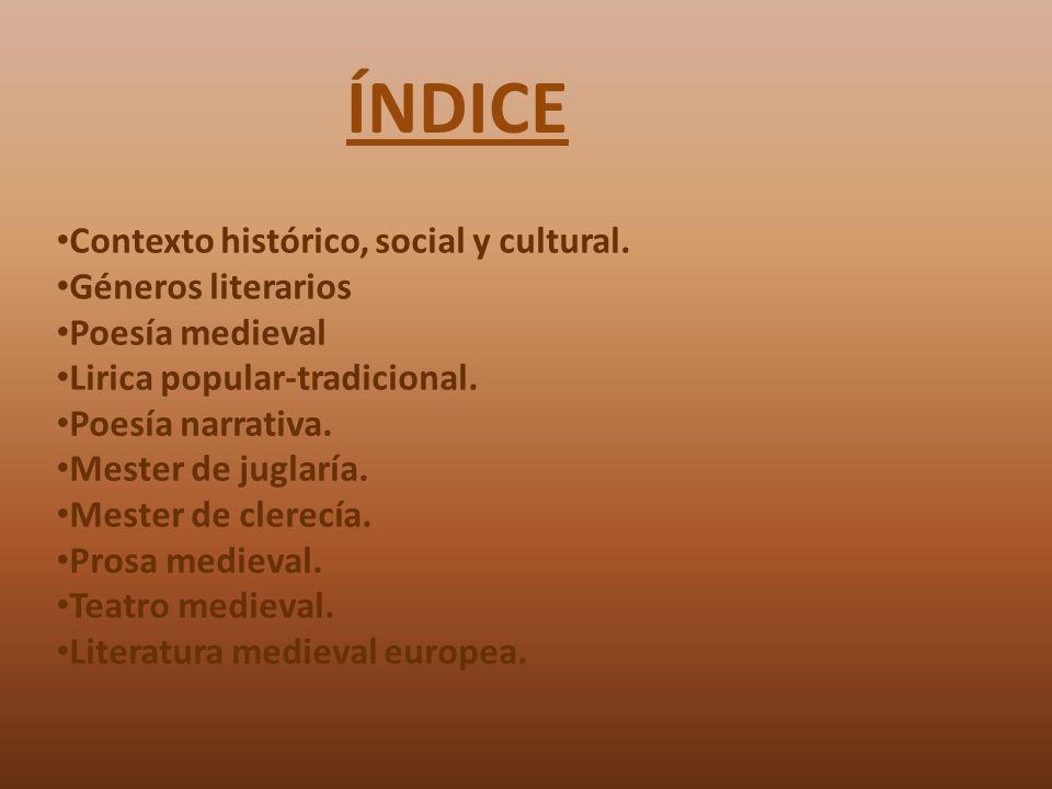 ÍNDICE Contexto histórico, social y cultural. Géneros literarios