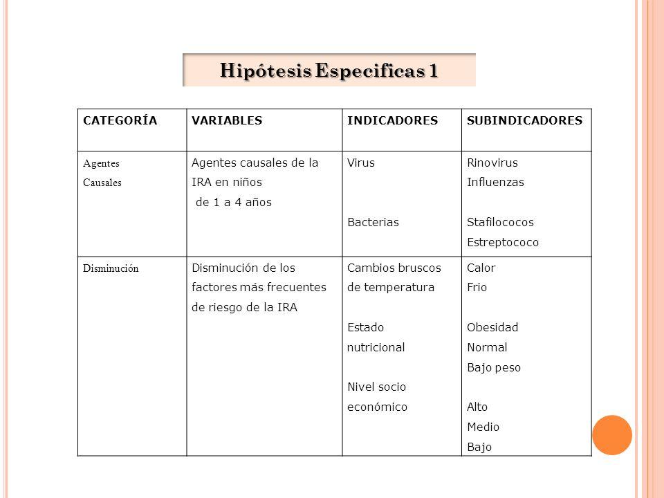 Hipótesis Especificas 1