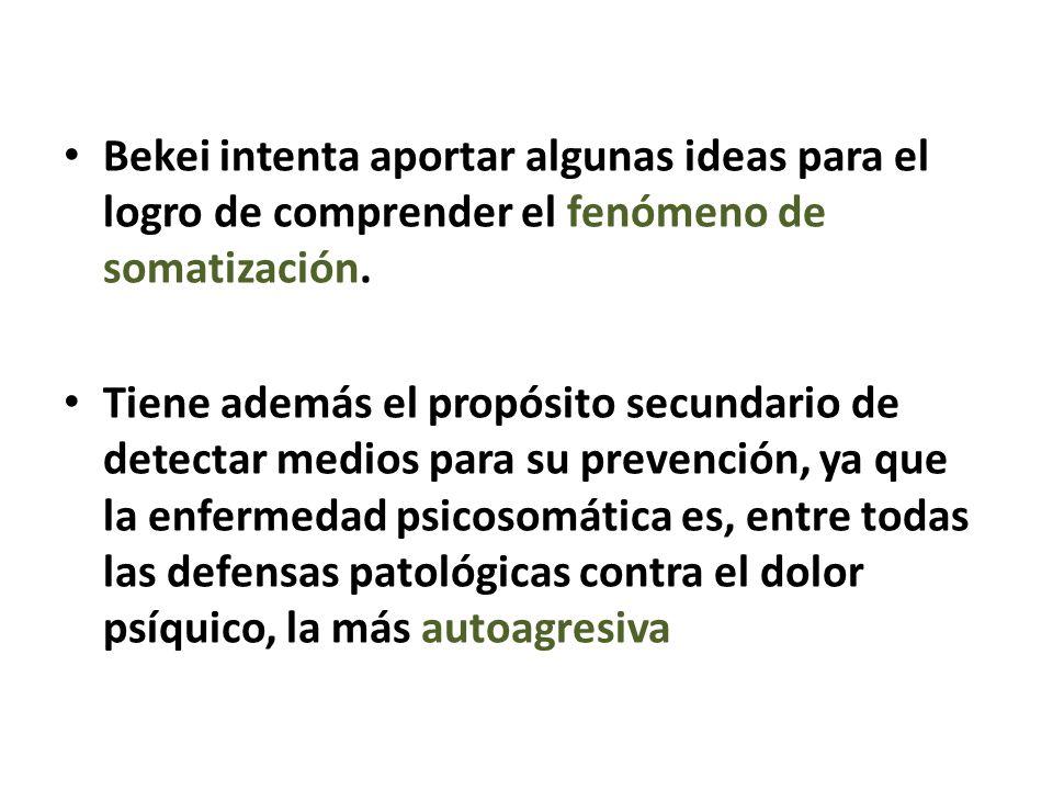 Bekei intenta aportar algunas ideas para el logro de comprender el fenómeno de somatización.