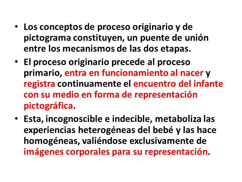 Los conceptos de proceso originario y de pictograma constituyen, un puente de unión entre los mecanismos de las dos etapas.