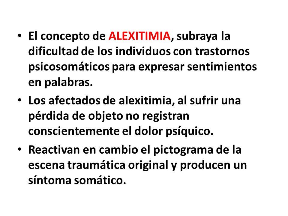 El concepto de ALEXITIMIA, subraya la dificultad de los individuos con trastornos psicosomáticos para expresar sentimientos en palabras.