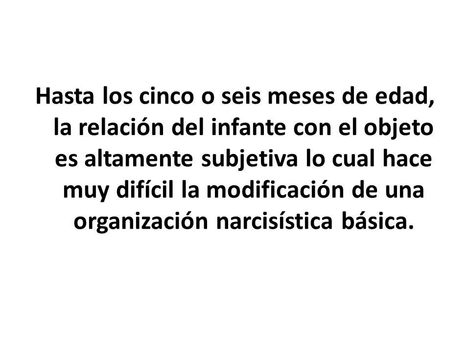 Hasta los cinco o seis meses de edad, la relación del infante con el objeto es altamente subjetiva lo cual hace muy difícil la modificación de una organización narcisística básica.