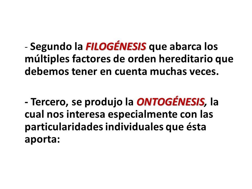 - Segundo la FILOGÉNESIS que abarca los múltiples factores de orden hereditario que debemos tener en cuenta muchas veces.