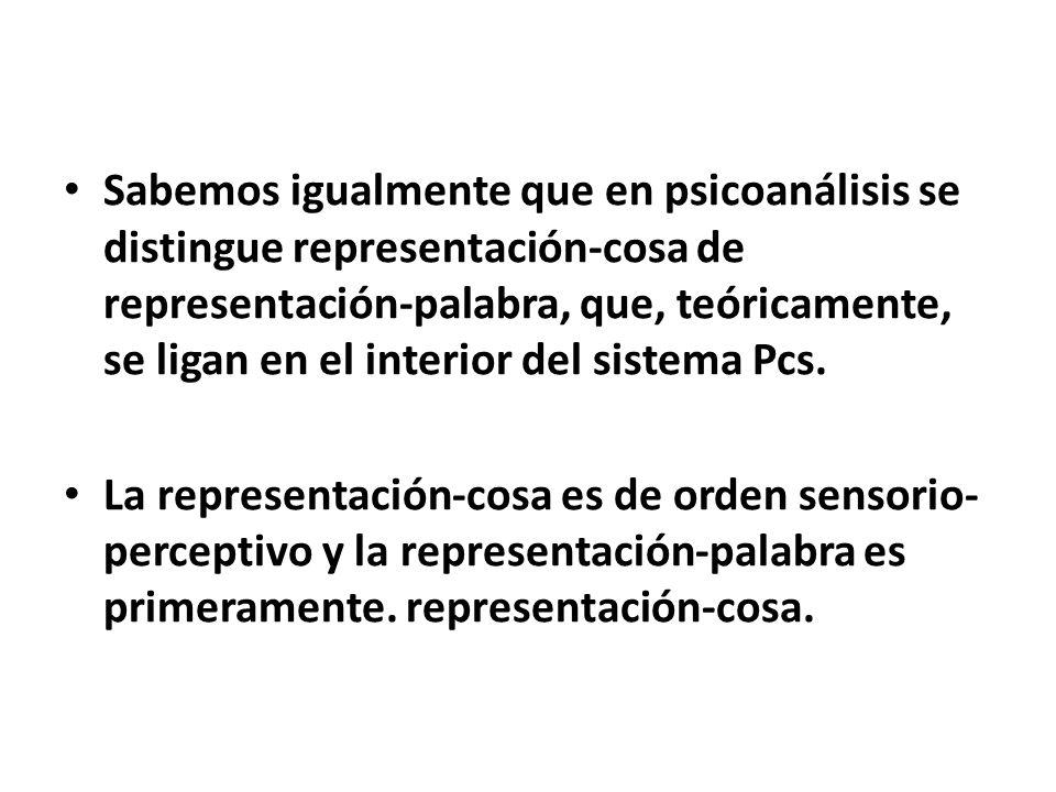 Sabemos igualmente que en psicoanálisis se distingue representación-cosa de representación-palabra, que, teóricamente, se ligan en el interior del sistema Pcs.