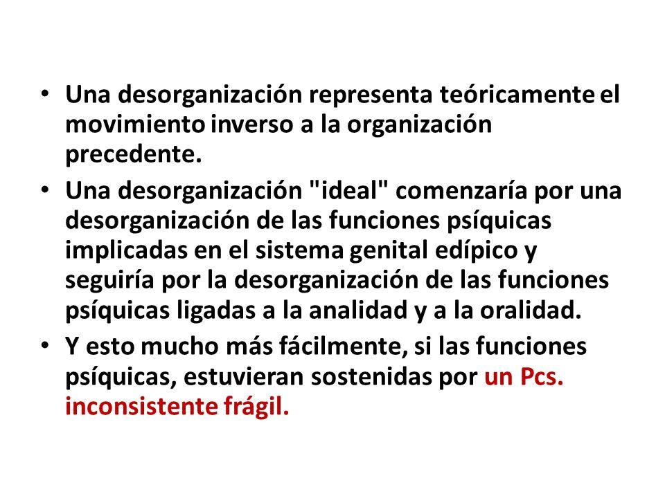 Una desorganización representa teóricamente el movimiento inverso a la organización precedente.