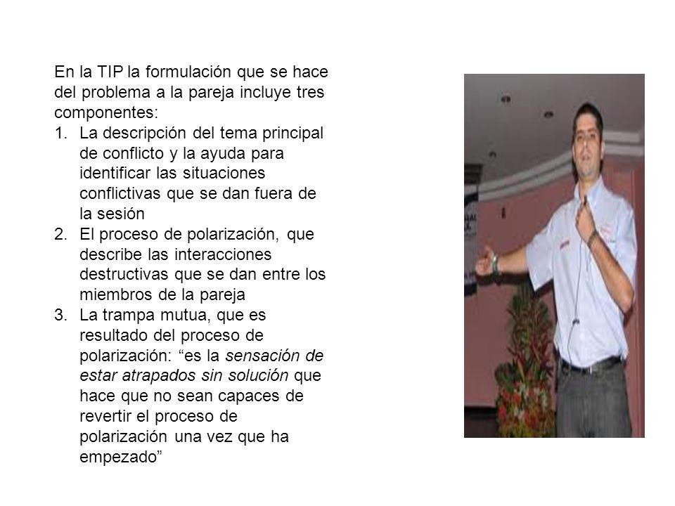 En la TIP la formulación que se hace del problema a la pareja incluye tres componentes:
