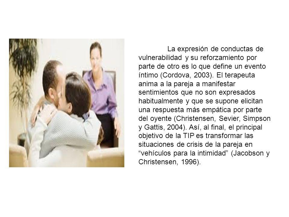 La expresión de conductas de vulnerabilidad y su reforzamiento por parte de otro es lo que define un evento íntimo (Cordova, 2003).