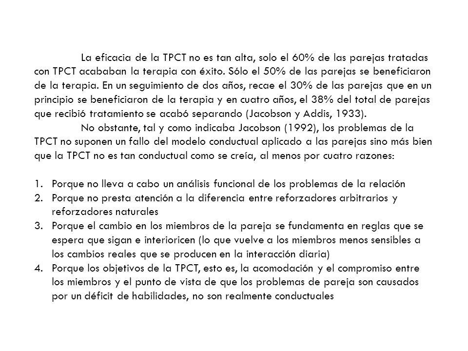 La eficacia de la TPCT no es tan alta, solo el 60% de las parejas tratadas con TPCT acababan la terapia con éxito. Sólo el 50% de las parejas se beneficiaron de la terapia. En un seguimiento de dos años, recae el 30% de las parejas que en un principio se beneficiaron de la terapia y en cuatro años, el 38% del total de parejas que recibió tratamiento se acabó separando (Jacobson y Addis, 1933).