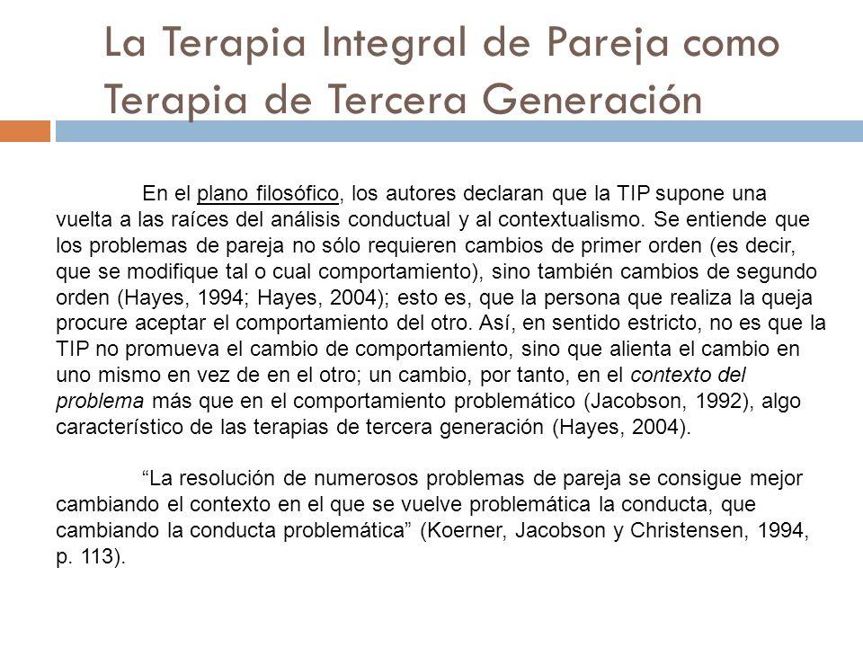 La Terapia Integral de Pareja como Terapia de Tercera Generación