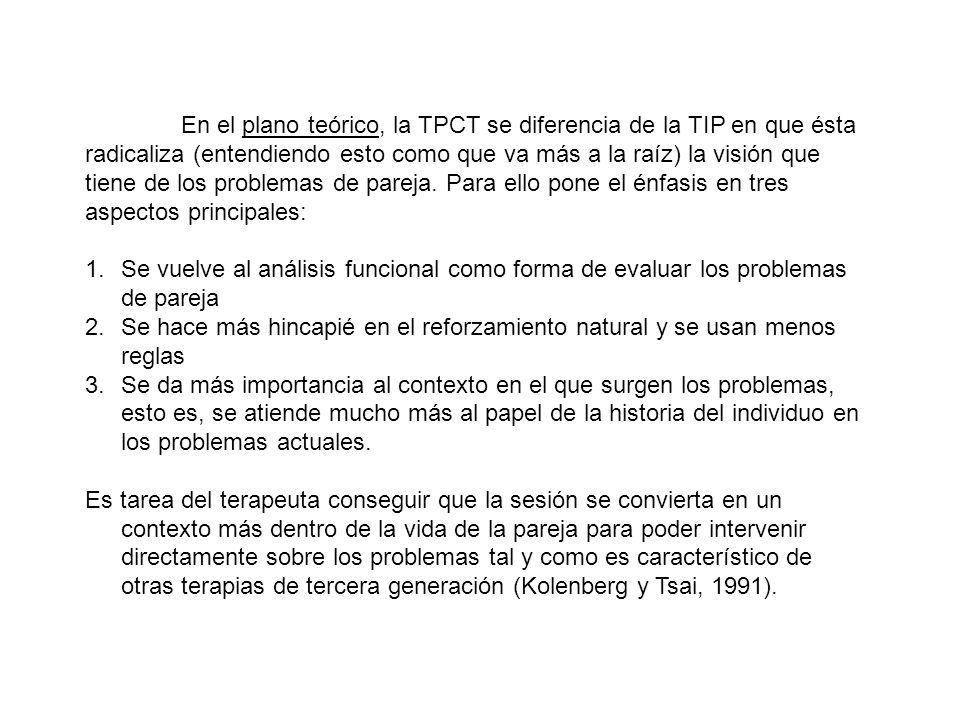 En el plano teórico, la TPCT se diferencia de la TIP en que ésta radicaliza (entendiendo esto como que va más a la raíz) la visión que tiene de los problemas de pareja. Para ello pone el énfasis en tres aspectos principales: