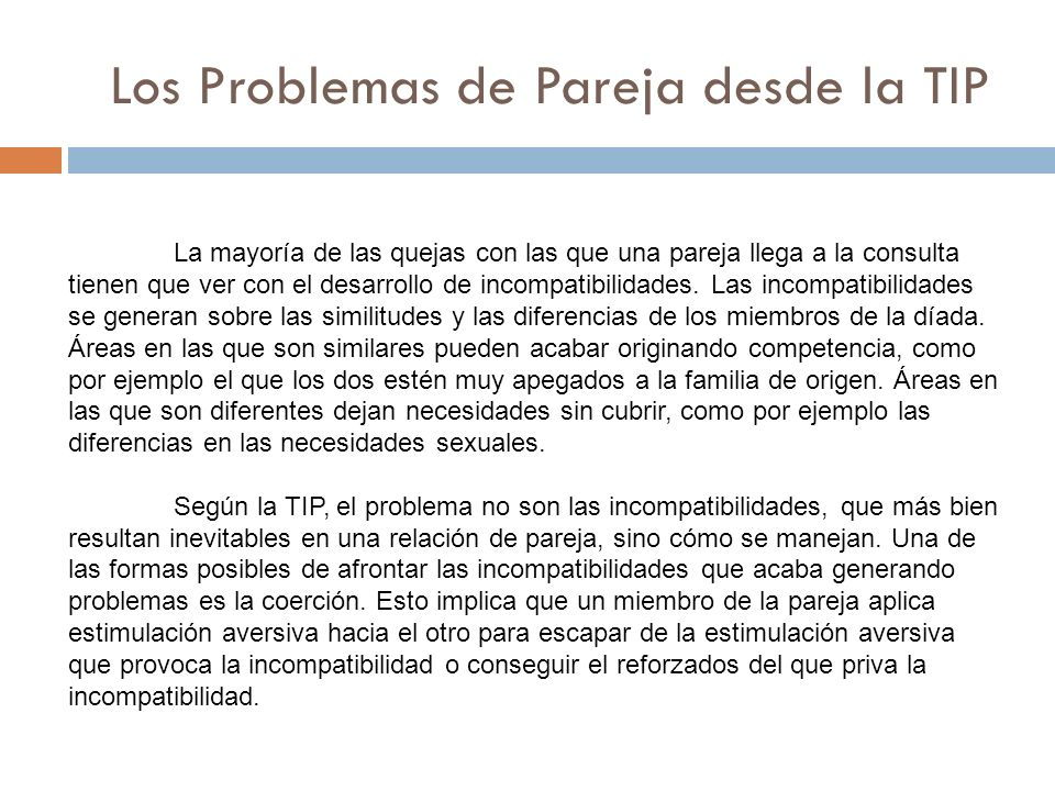 Los Problemas de Pareja desde la TIP