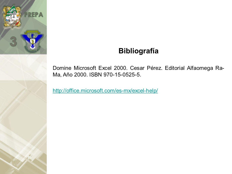 Bibliografía Domine Microsoft Excel 2000. Cesar Pérez. Editorial Alfaomega Ra- Ma, Año 2000. ISBN 970-15-0525-5.