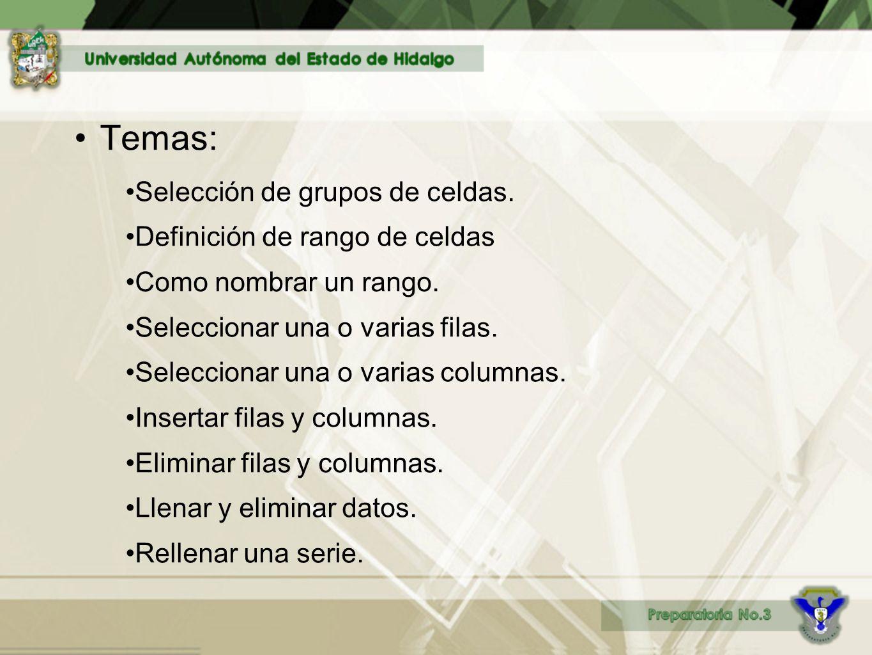 Temas: Selección de grupos de celdas. Definición de rango de celdas