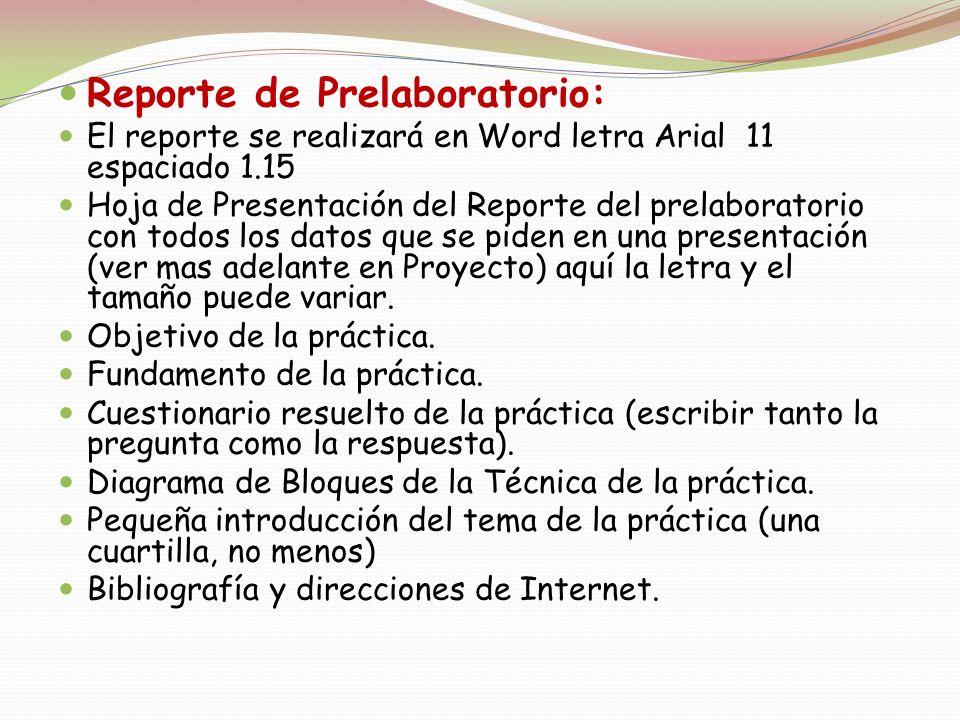 Reporte de Prelaboratorio: