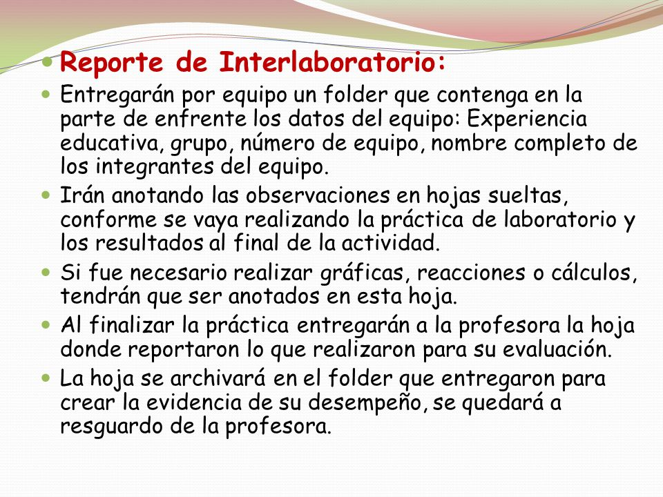 Reporte de Interlaboratorio: