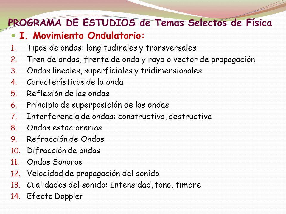 PROGRAMA DE ESTUDIOS de Temas Selectos de Física