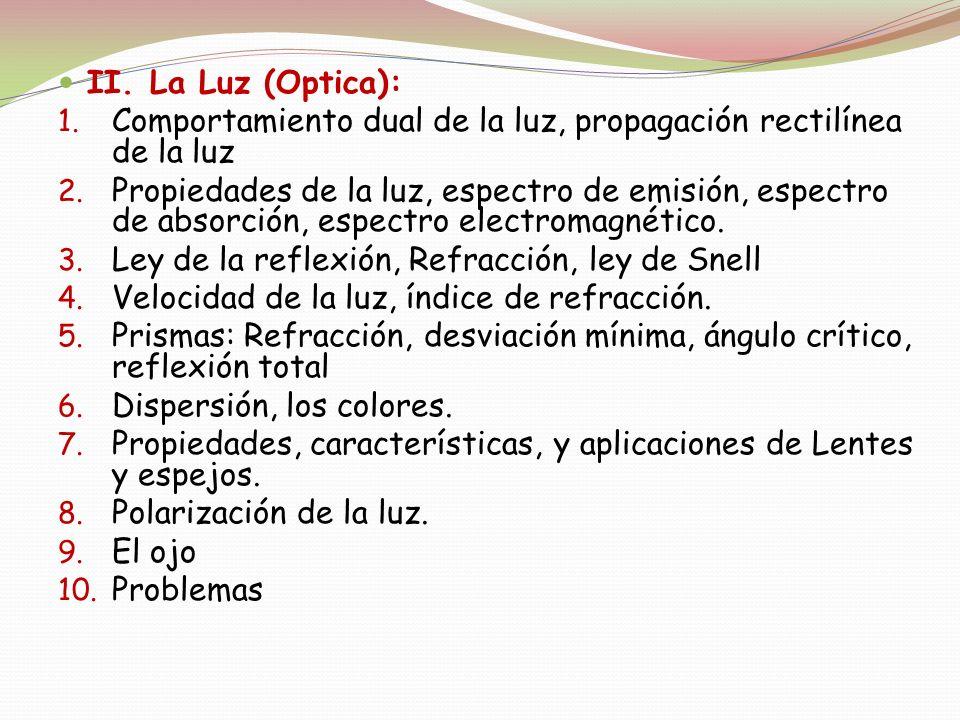 II. La Luz (Optica): Comportamiento dual de la luz, propagación rectilínea de la luz.
