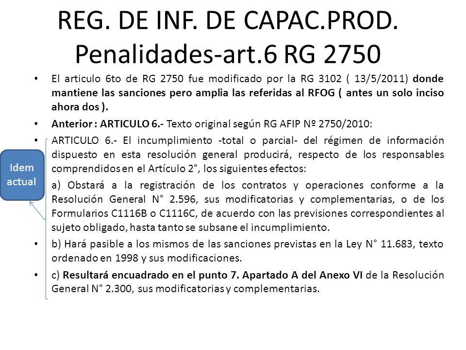 REG. DE INF. DE CAPAC.PROD. Penalidades-art.6 RG 2750