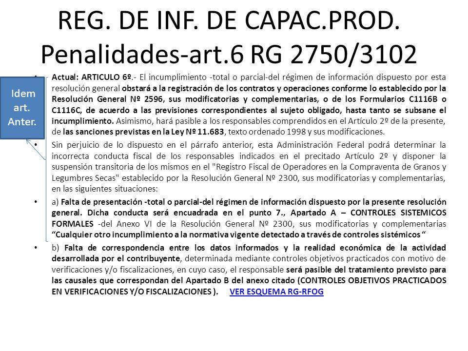 REG. DE INF. DE CAPAC.PROD. Penalidades-art.6 RG 2750/3102