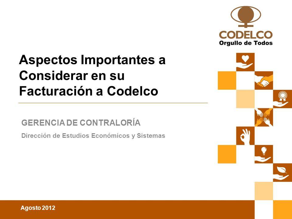 Aspectos Importantes a Considerar en su Facturación a Codelco