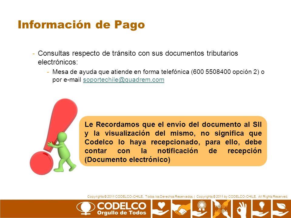 Información de Pago Consultas respecto de tránsito con sus documentos tributarios electrónicos: