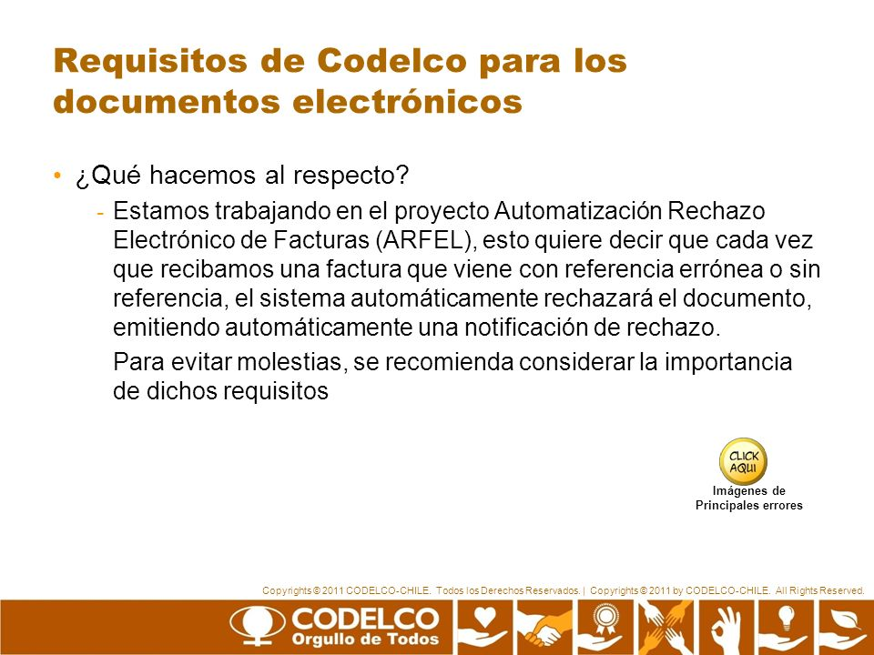 Requisitos de Codelco para los documentos electrónicos
