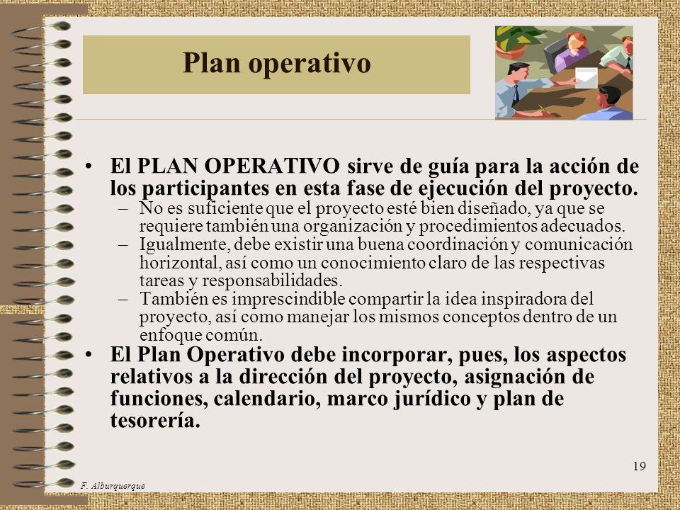 Plan operativo El PLAN OPERATIVO sirve de guía para la acción de los participantes en esta fase de ejecución del proyecto.