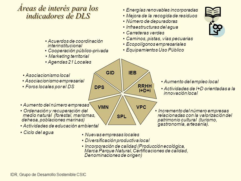 Áreas de interés para los indicadores de DLS