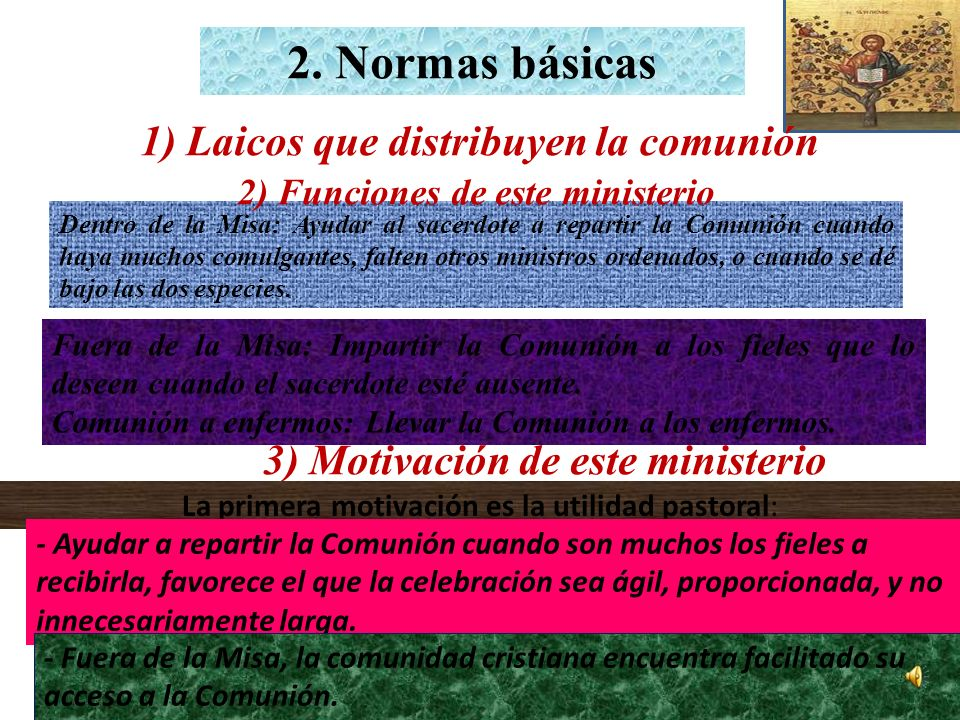 1) Laicos que distribuyen la comunión 2) Funciones de este ministerio