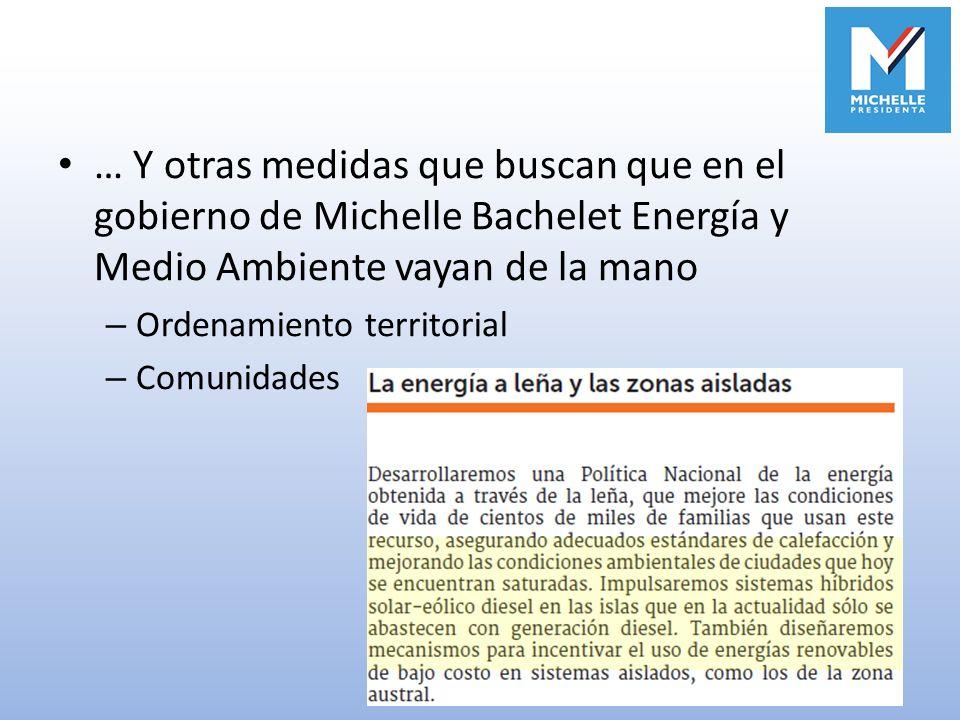 … Y otras medidas que buscan que en el gobierno de Michelle Bachelet Energía y Medio Ambiente vayan de la mano