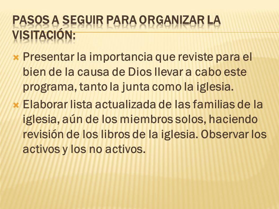 Pasos a seguir para organizar la visitación: