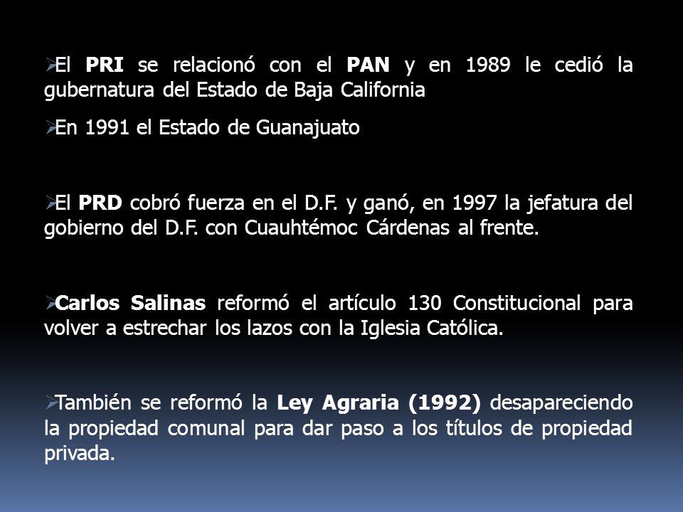 El PRI se relacionó con el PAN y en 1989 le cedió la gubernatura del Estado de Baja California