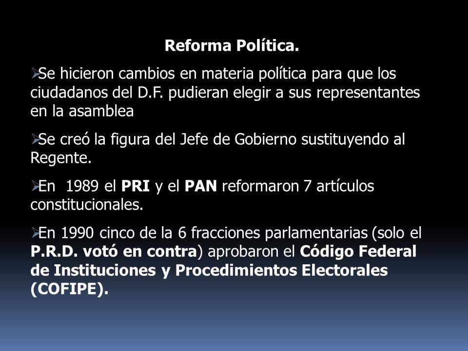 Reforma Política. Se hicieron cambios en materia política para que los ciudadanos del D.F. pudieran elegir a sus representantes en la asamblea.
