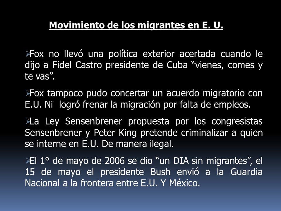 Movimiento de los migrantes en E. U.