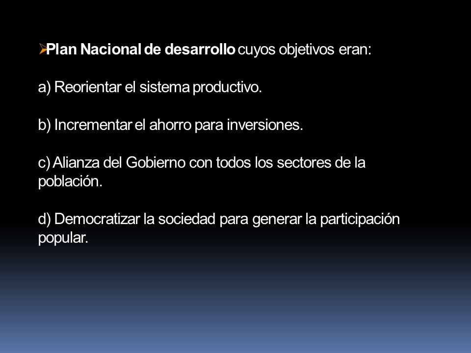 Plan Nacional de desarrollo cuyos objetivos eran: a) Reorientar el sistema productivo.