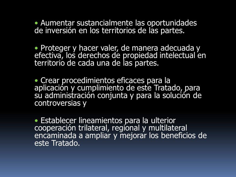 Aumentar sustancialmente las oportunidades de inversión en los territorios de las partes.