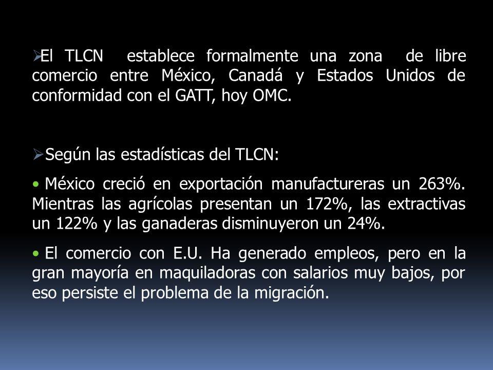 El TLCN establece formalmente una zona de libre comercio entre México, Canadá y Estados Unidos de conformidad con el GATT, hoy OMC.